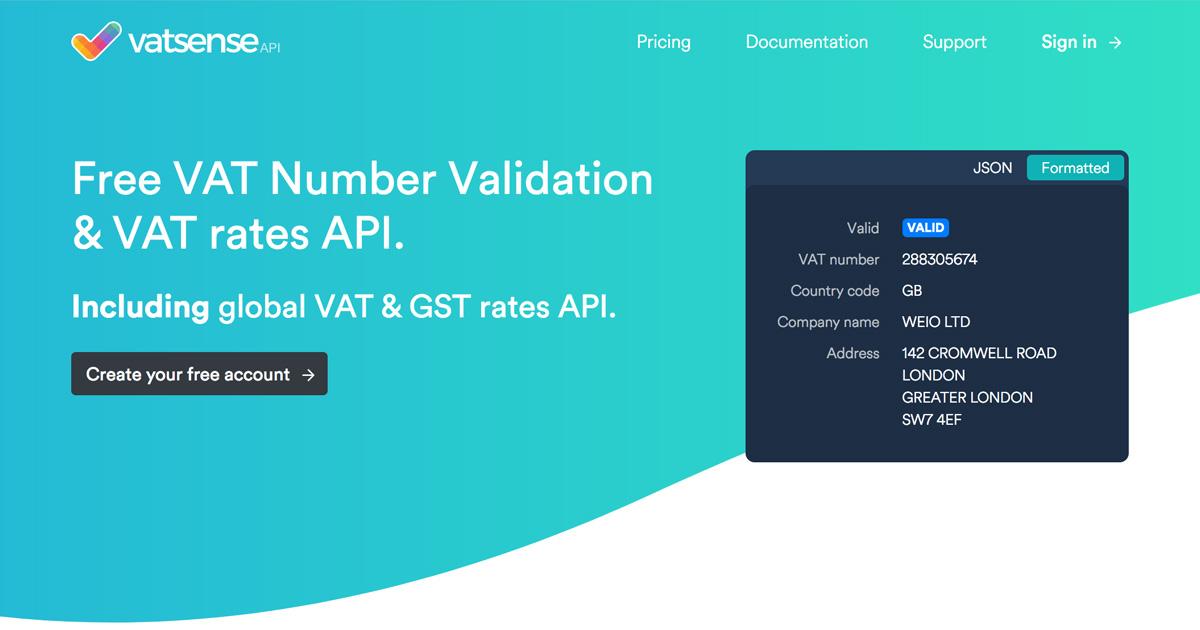 VAT Sense - Free VAT API, VAT Number Validation API, EU VAT rates API